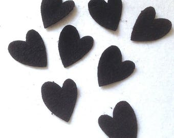 8 cuts fabric heart made of boiled wool black dies