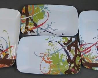 Plates, Dinner Plates, Set of 4, Retro Theme,