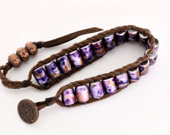 Gold Purple Barrel Bead Leather Bracelet-One of a Kind - Gift for Girl - Free Shipping