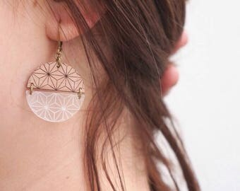 "Earrings ""Iris"" wood and plexiglass"