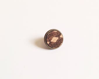 "Badges ""Kachiko"" mahogany wood - geometric"