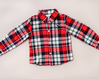 Boys Monogrammed Christmas Flannel Shirt