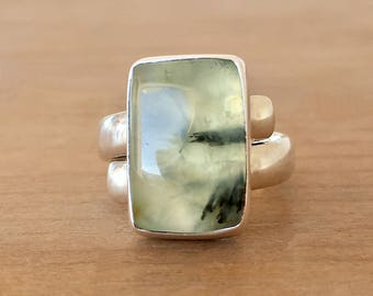 Prehnite Ring, Prehnite and Sterling Silver Ring, Prehnite and Silver Ring, Adjustable Ring, Gemstone Ring, Crystal Ring, Green Stone Ring