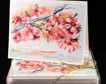 pink dogwood blossom Original Watercolor PRINT Note Card Set, Watercolor Cards, Flower Cards, Watercolor dogwood Cards,