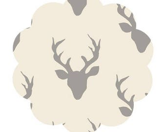 Knit fabric supply. Deer print knit fabric. Jersey knit fabric supply. Gray/cream deer print knit fabric. Apparel knit. Baby knit fabric