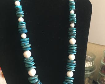 Vintage Turquoise Flat Beads and White Coral Round Beads Necklace
