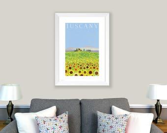 DIGITAL DOWNLOAD - POSTER Sunflowers, Tuscany, Italy. Print of original collage. Home decor, office decor, art, housewarming gift, travel