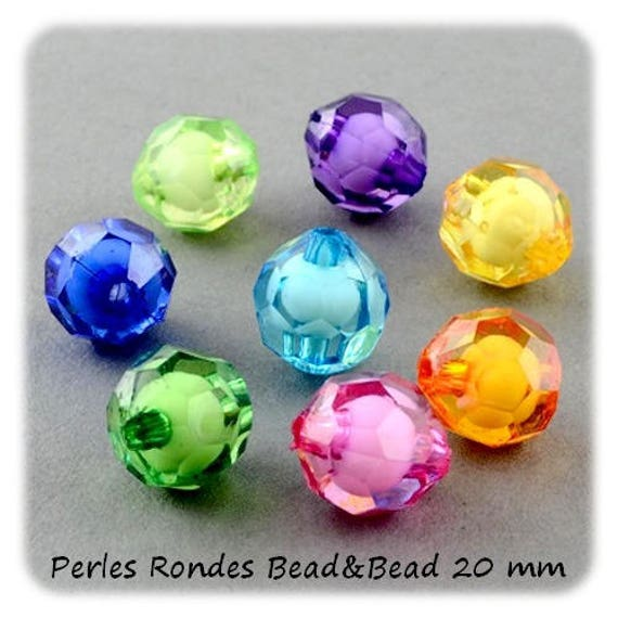 Round faceted 20 mm Bead & Bead] colorful x 1