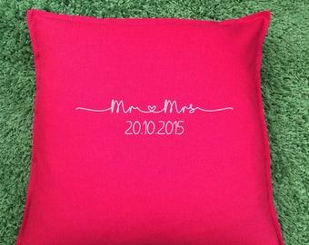 Mr and Mrs Cushion, Wedding Cushion, Personalised cushion. Wedding gift