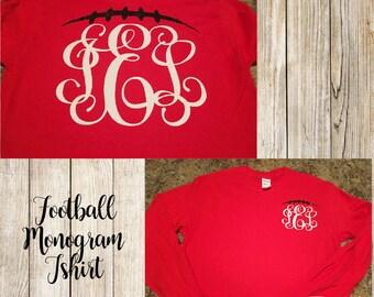 Monogram Football tshirt.  Custom sports team colors monogram football tshirt.  Great for sports events!