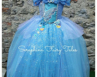 Blue Butterfly Princess Tutu Dress - Lined Sparkly Ball Gown. Handmade by Seraphina Fairy Tales.