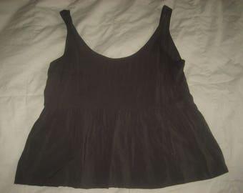 Cute Little Charcoal Gray Empire Style Ruffled Short Sleeveless Top