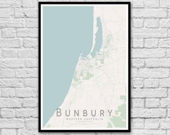 Bunbury WA City Street Map Print | Wall Art Poster | Wall decor | A3 A2