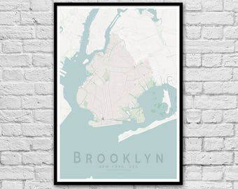 Brooklyn, New York City USA City Street Map Print | Travel Print | Valentine's Day Gift Idea | Wall Art Poster | Wall decor | A3 A2
