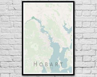 Hobart Tasmania Street Map Print | Wall Art Poster | City Print | Australian Maps | Wall decor | A3 A2