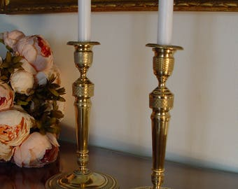 Antique Pair of Candlesticks dated about 1890, Louis XVI style, France.
