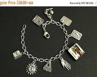 BACK to SCHOOL SALE Tarot Bracelet. Temperance Charm Bracelet. Divination Bracelet. Silver Bracelet. La Temperanza Bracelet Tarot Jewelry. M