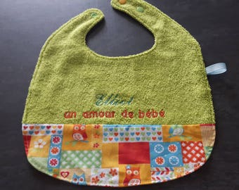 """embroidered personalized baby name of the child/napkin child """"owls"""" green bib"""