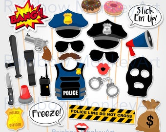 Printable Police Robber Photo Booth Props - Cops Photobooth Props - Thief Printable Props - Police and Thief Props