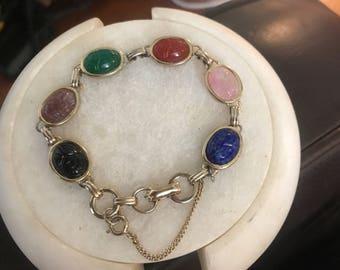 Vintage Egyptian Revival Scarab Bracelet