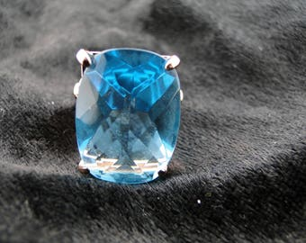 Sterling Silver Rose Plated Faceted Blue Topas Ring Size 8
