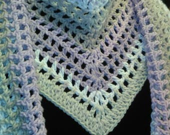 Rose Whisper V neck Wrap scarf with attached charms and made from the Caron Cotton Cakes Yarn