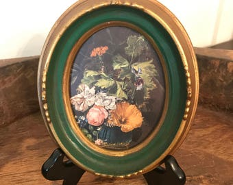 Vintage Floral Botanical Still Life Print in Green and Gold Oval Frame | Illinois Moulding Co.