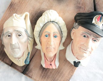Bossons Congleton England Imagical Models by Bossons, 3 models: Scrooge 1981, Betsey Trotwood 1964, Sea Captain 1972