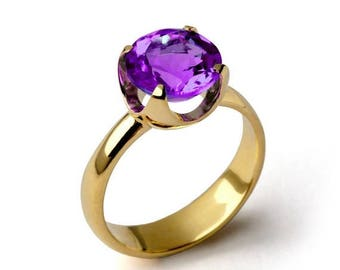 SALE 20% Off - CUP Amethyst Engagement Ring, Purple Amethyst Ring, Yellow Gold Amethyst Ring, Amethyst Promise Ring, Large Amethyst Ring