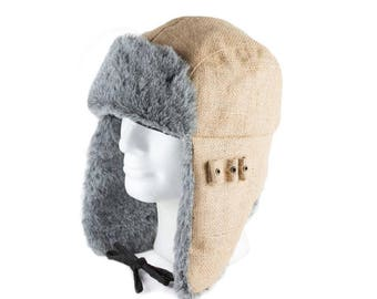 Upcycling Aviator Hat 'Iced coffee' (winter hat from coffee sack) subject: plain (size: L)