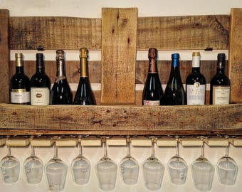 Bottle holder wooden Pallet shelf/wine cellar