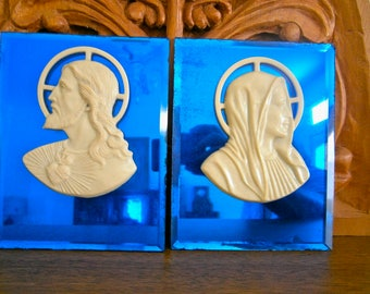 Deco Cobalt Blue Mirrored Religious Wall Plaques