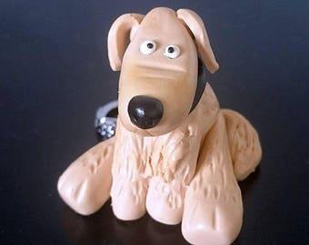 Golden Retriever dog polymer clay keychain