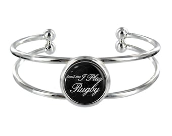 Trust Me I Play Rugby On Silver Plated Bangle in Organza Gift Bag