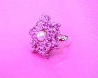 Starry lilac flower crochet ring