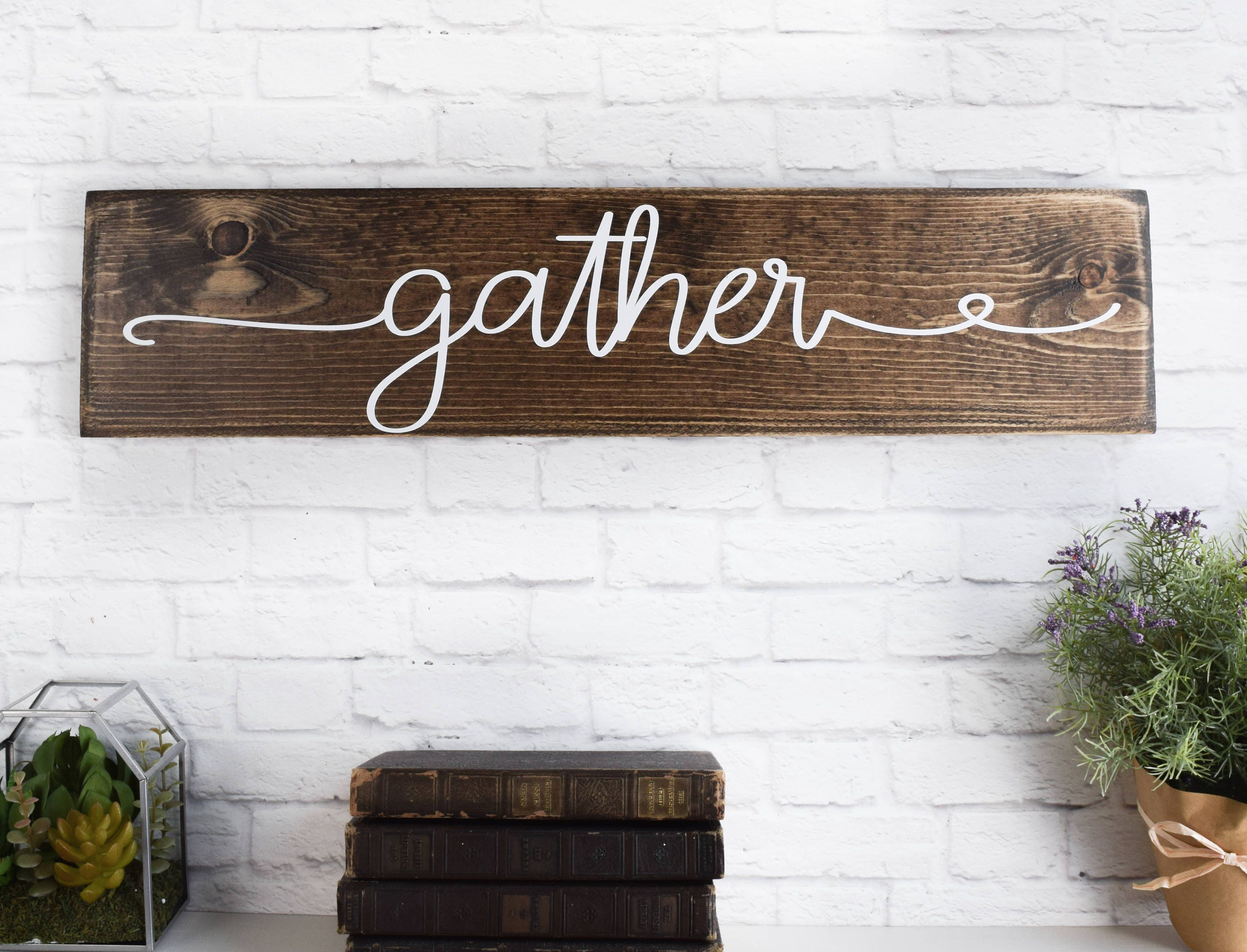 Gather Wood Sign C Wooden Sayings Wall Décor C Rustic Farmhouse ...