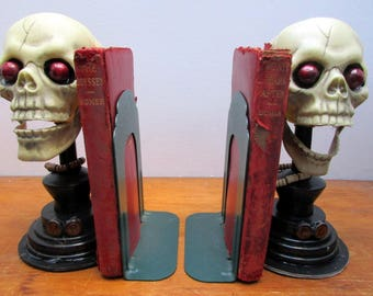 Bookends Unique Scary Head  Skeletons, With Books Attached, Handcrafted, Halloween