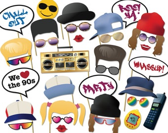 90s Party Printable Photo Booth Props - nineties 90's Rave, Grunge, Hip Hop Photobooth props, Instant Digital Download - 0175