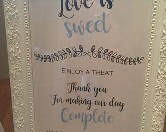 Love is Sweet personalised Wedding Sign