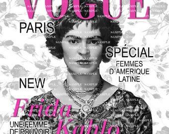 Frida Vogue, Frida Poster, Frida Kahlo art, Frida Kahlo, Frida photo, Modern Frida, Frida Kahlo image, Frida portrait, Frida and Diego
