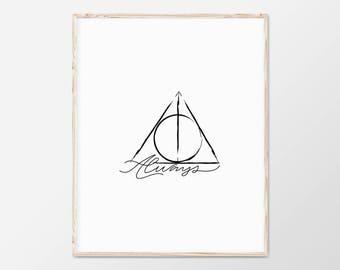 Harry Potter Art, Deathly Hallows, Deathly Hallows Art, Always, Severus Snape, Harry Potter Gift, Harry Potter Print, Harry Potter Nursery