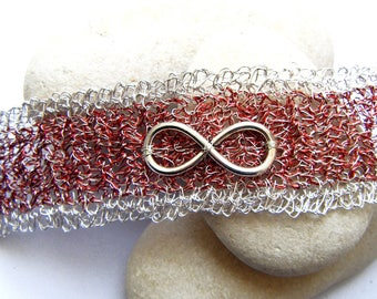 Red and silver Cuff Bracelet crocheted copper wire