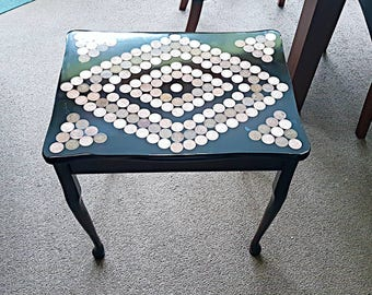 Penny table, upcycled penny table, side table, coffee table, coin table, coin top table, resin table
