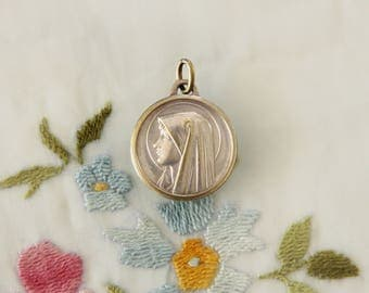 Large Vintage Catholic Mary Our Lady of Lourdes & Bernadette at the Grotto Medal