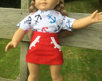 18 inch doll skirt and tee shirt