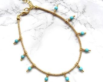 Gold turquoise bohemian anklet bracelet minimalist dainty anklet boho chic anklet simpel everyday anklet beach anklet delicate anklet