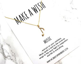 Music Note wish necklace, dainty minimalist necklace, music note jewelry, make a wish necklace, fine delicate adjustable necklace