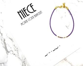 NIECE morse code bracelet, minimalist dainty bracelet, Aunt niece gift, morse code jewelry, simple delicate bracelet, gift for her