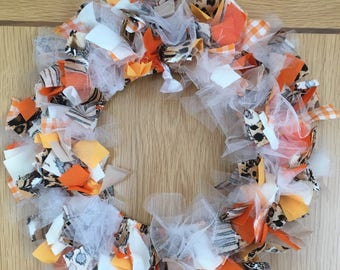 Orange and brown autumnal fall inspired fabric wreath