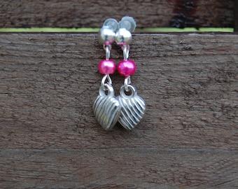 magic beads and heart charm earrings